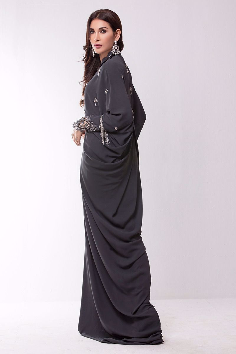 Picture of Charcoal grey georgette kaftan