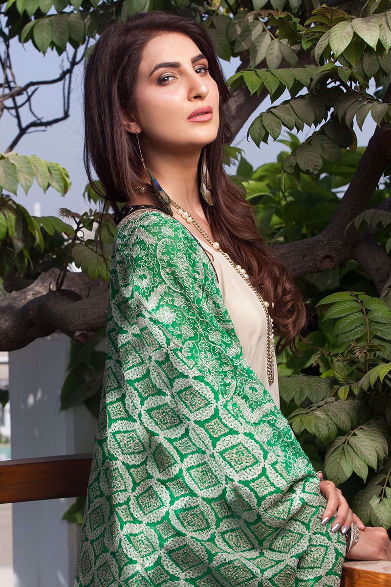 Picture of Embroidered panelled top - green