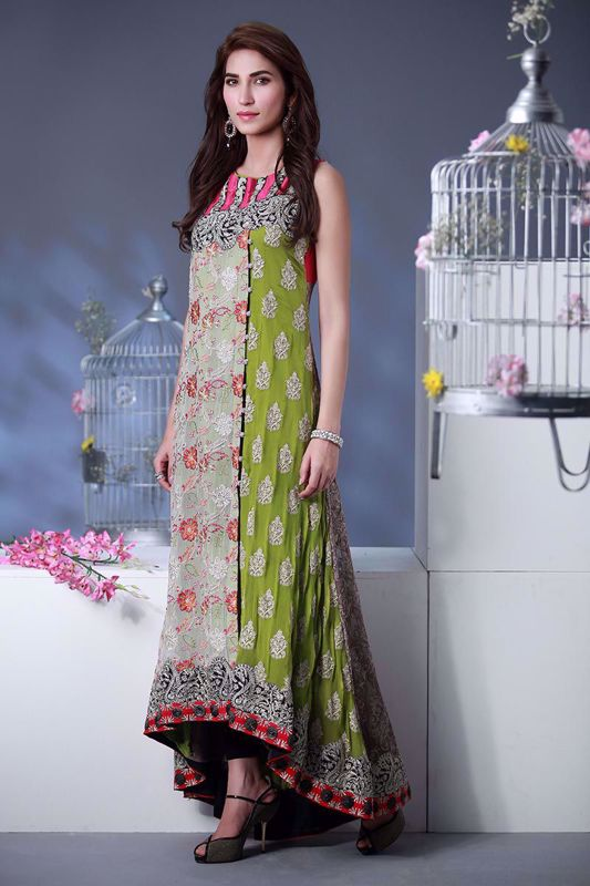 Picture of Embroidered panelled top - multi color