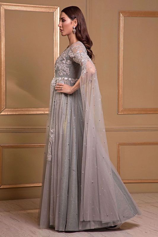 Grey net gown