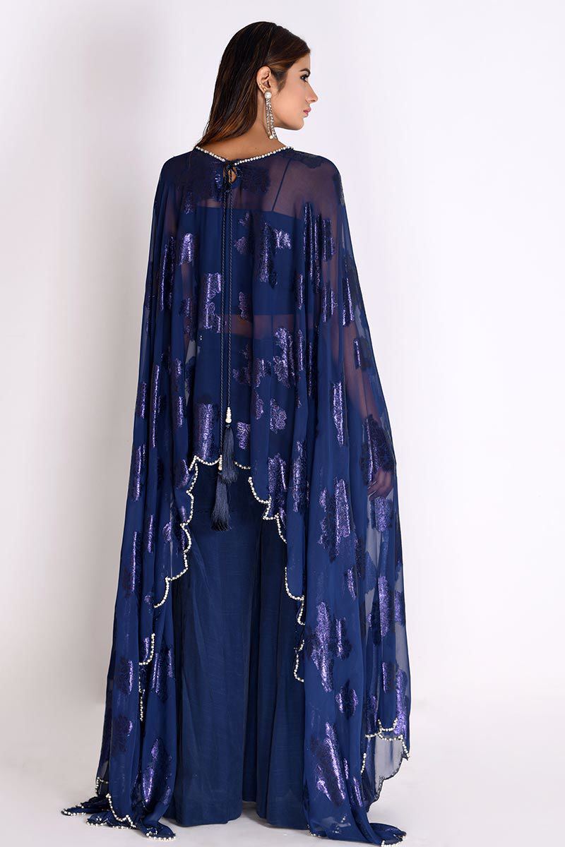 Picture of Blue Georgette Long Cape