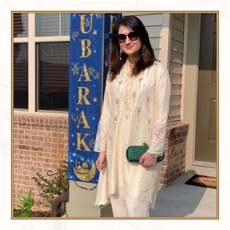 Picture of Farwa Hassan spotted in the USA, celebrating Eid in style in this elegant outfit from our latest collection